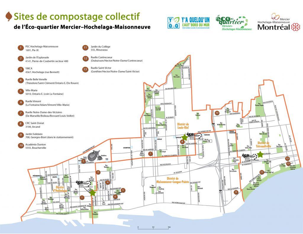 Carte des composteurs collectifs de Mercier-Hochelaga-Maisonneuve