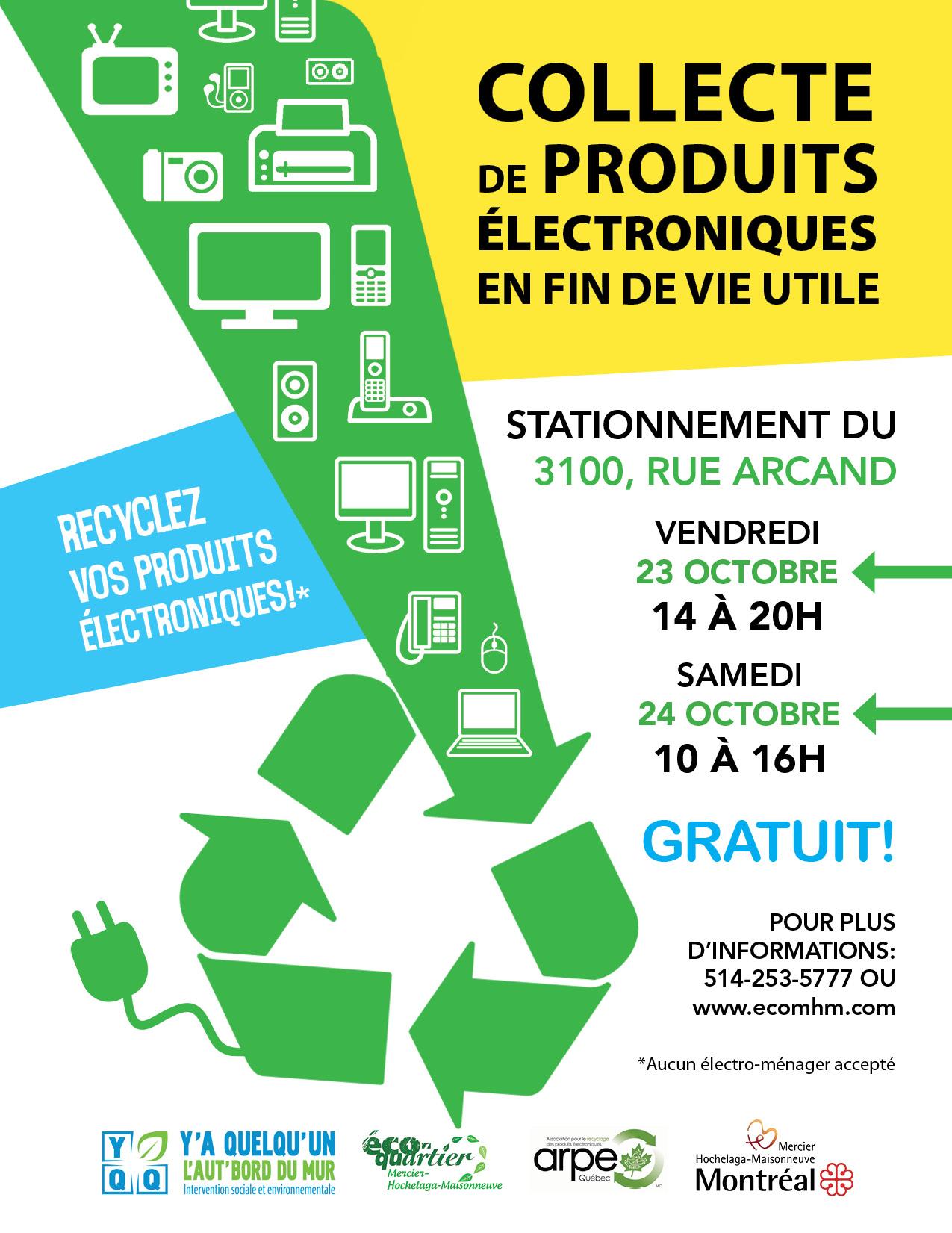 Collecte de produits lectroniques en fin de vie utile co quartier mercier - Collecte appareils electroniques ...