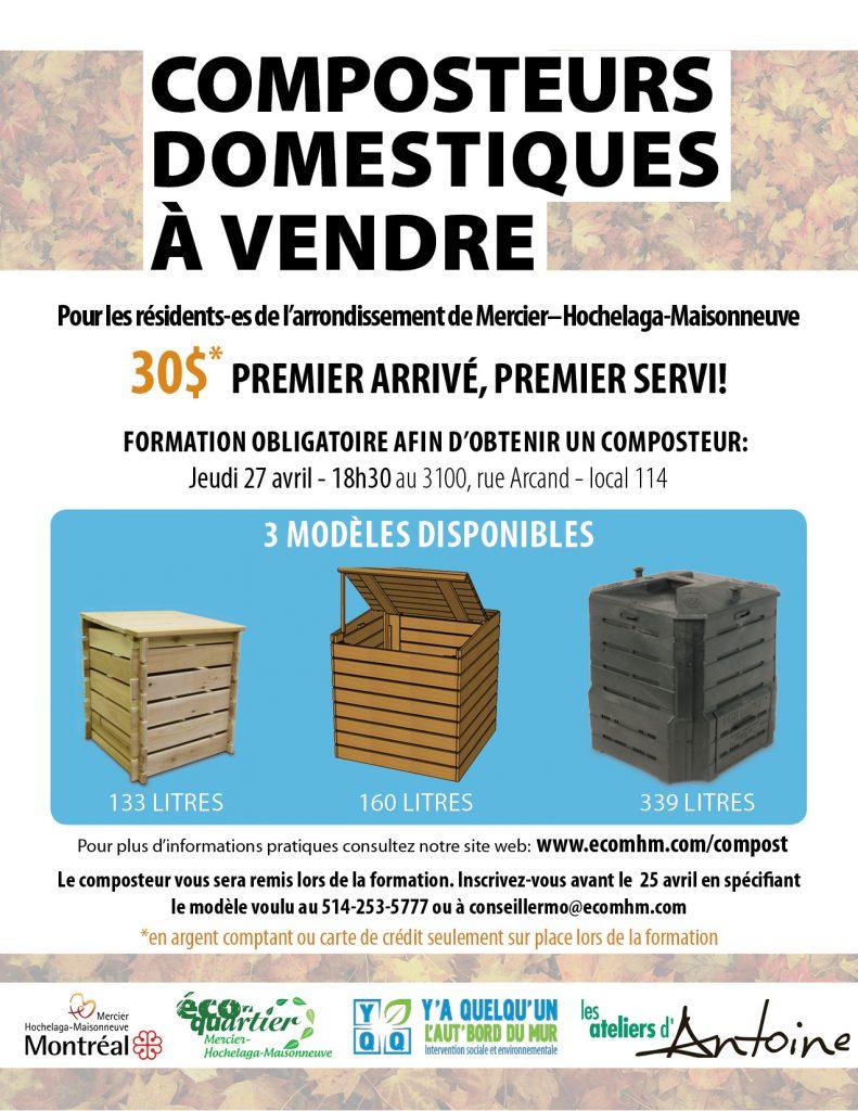 Affiche promotionnel de la vente de composteurs domestiques