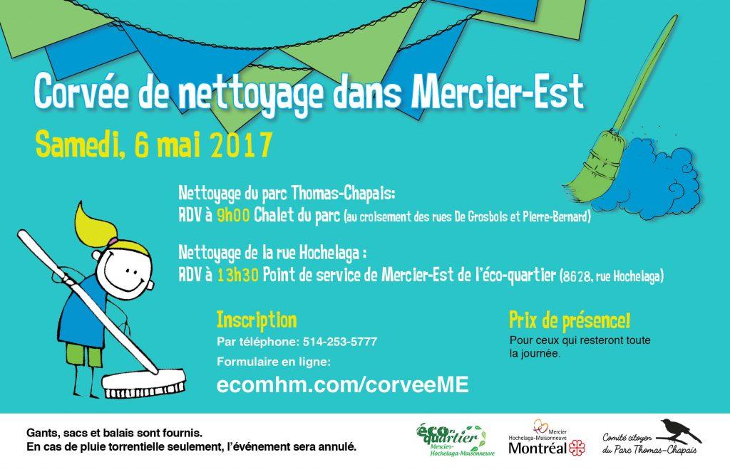 Affiche de promotion de la corvée nettoyage de Mercier-Ouest