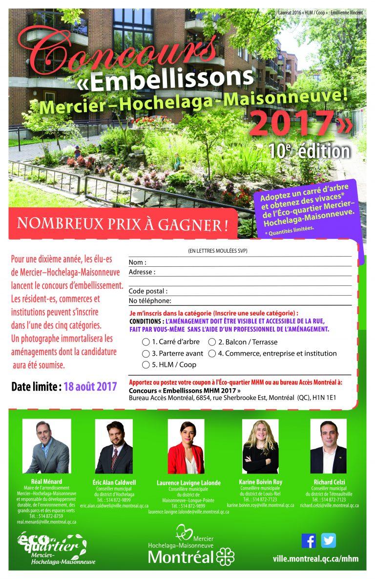 Affiche de promotion du concours d'embellissement de Mercier-Hochelaga-Maisonneuve