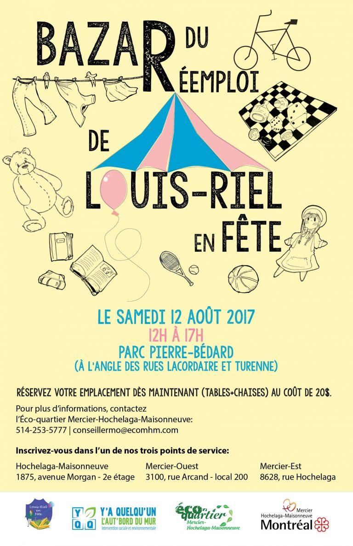 Affiche pour le bazar de Louis-Riel en fête