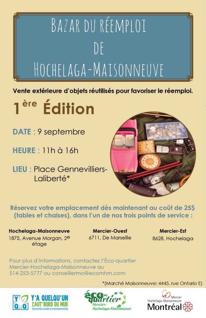 Affiche promotionnelle du premier bazar du réemploi d'Hochelaga-Maisonneuve