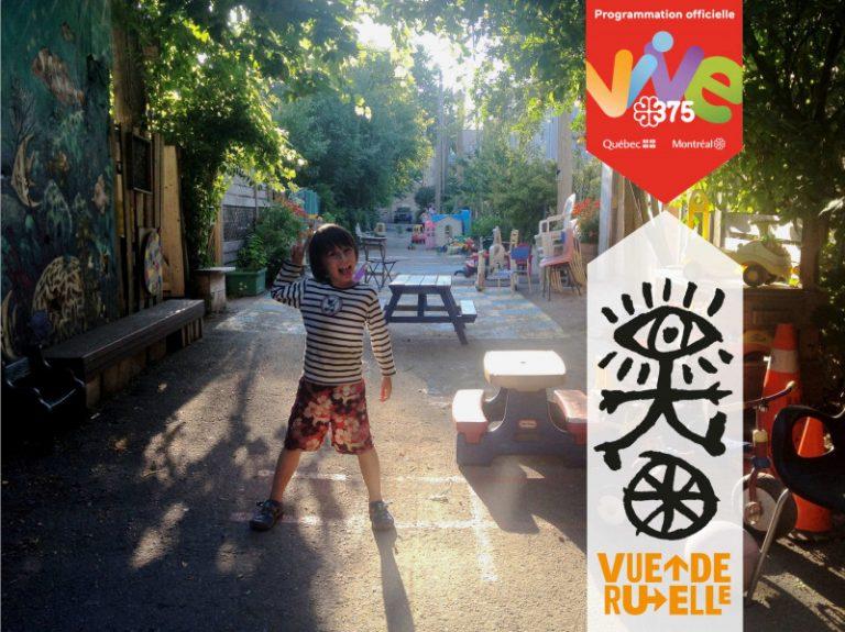 Photo d'une ruelle verte avec un enfant au milieu