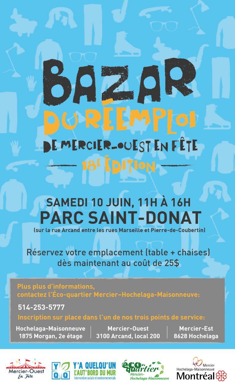 Affiche promotionnelle du bazar du réemploi de Mercier-Ouest en fête