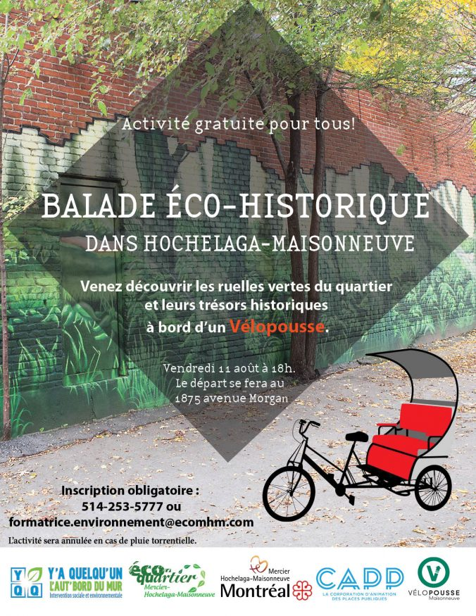 Affiche promotionnelle de la balade éco-historique en vélopousse
